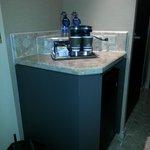 Coffee pot/fridge area