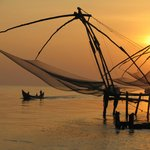 Sun setting over the Chinese fishing nets