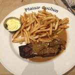 Steak frites with mushroom sauce and mayo dip
