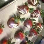 chocolate covered strawberries with decorate white chocolate