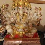 inside the museum, a mutli-headed Ganesha idol