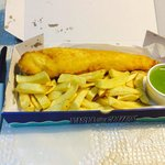 Lovely Cod Fillet with chips and peas in a box