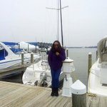 In front of the Dockhouse:  cold but it was well worth it