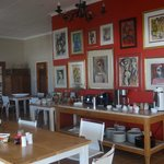 Inside breakfast area - some interesting paintings