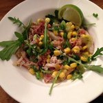 Crab, bacon & rocket salad