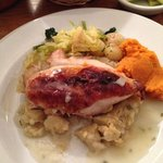 Chicken with curried mash & veggies