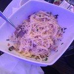 Lovely pasta carbonara at downstairs cafe