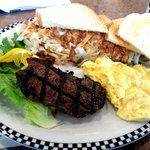 NY steak and eggs special