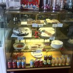 The marina cafe .cake display (tray bakes and gateau)