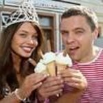 The marina cafe.Miss Scotland 2012 enjoying  our ice cream mmmm!!!!