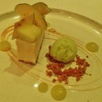 Burnt butter parfait with apple crisps and green apple sorbet