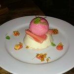 vanilla cream, rhubarb sorbet, honeycomb