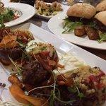 Lamb medallions, Beef sliders, Pear and rocket salad