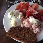 Great cold water prawns, eggs. Great ham and wonderful breads