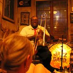 Trombonist Ronell Johnson of the New Orleans Legacy Jazz Band at Preservation Hall