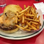 Thunder road-Burger with sauted onions and pimento cheese