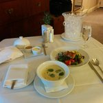 Wonderful chicken soup and nicoise salad.