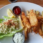 Fish and Chips with coleslaw and BEST tarter sauce