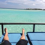 view from our private deck, overwater villa