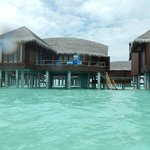 view of our overwater villa from the ocean