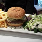 Burger with fries and salad