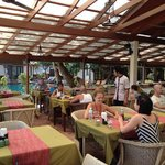 Restaurant area next to the pool and beach