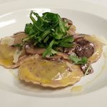 Wild Mushroom Ravioli with Truffle Oil and Baby Arugula