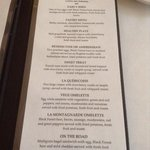 breakfast menu that is included in cost of your stay