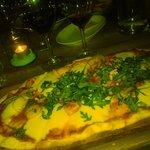 Prawn and scallop pizza