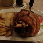 Pork Knuckle with Fried Potatoes and Cole Slaw (not shown)