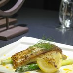 Grilled Wild Barramundi, Asparagus Twigs & Potato Bed