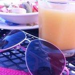 Fresh fruits with fresh orange juice