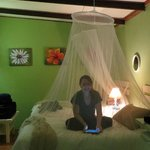 Our daughter, didn't have any mosquito - bug problems, very clean - net added to the atmosphere