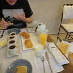 Our wonderful breakfast - and we did eat all of it :)