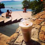 Iced cappucino by the pool