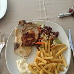 One food option - jack fish and chicken with salad and fries