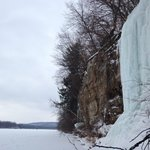 Enjoying the frozen ice of the Wisconsin river in Lone Rock.