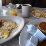 bacon, eggs, hotcakes and french toast
