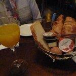 Breakfast - fresh orange juice, hard boiled egg etc