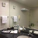 Bathroom with large vanity.