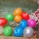 Courtyard pluge pool with my birthday balloons in - wasnt brave enough to join them!