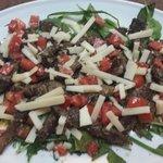 Straccetti rucola parmigiano e pomodorini