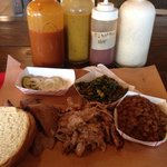 Beef brisket and pulled pork combo plate