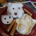 Polar Bear Pancakes with Sausage & Eggs