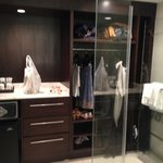 odd closet/shower/toilet configuration in room (toilet on other side of glass)