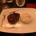 Black angus beef filet with mashed potatoes with herbs, very nice!