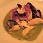 locus fish and mussels in spinach sauce