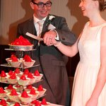 Bride & Groom who just love strawberry Tarts. Why? Engaged Stawberry Fields, NY, USA