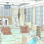 Artist rendering of the lobby/lounge of The Break, a Narragansett hotel