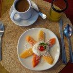 Fresh fruit with yogurt & amaranth, chocolate, fresh orange juice